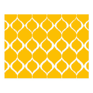 Golden Yellow Geometric Ikat Tribal Print Pattern Postcard