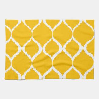 Golden Yellow Geometric Ikat Tribal Print Pattern Tea Towel