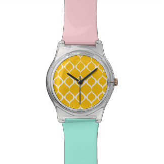 Golden Yellow Geometric Ikat Tribal Print Pattern Watch