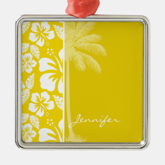 Golden Yellow Hawaiian Tropical Palm Christmas Ornament