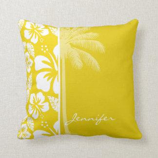 Golden Yellow Hawaiian Tropical Palm Throw Pillow