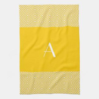 Golden Yellow Kitchen Towel with White Monogram