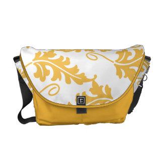 Golden Yellow Leaf Bold Botanical Nature Pattern Messenger Bags