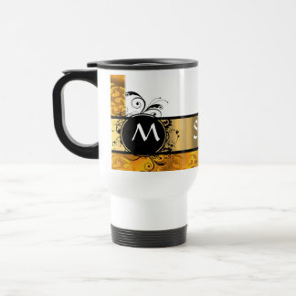 Golden yellow monogram pattern travel mug