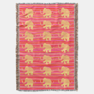Golden Yellow on Red Stripes Elephant Pattern Throw Blanket