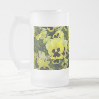 Golden_Yellow_Pansies_Big_Frosted_Glass_Coffee_Mug Frosted Glass Beer Mug