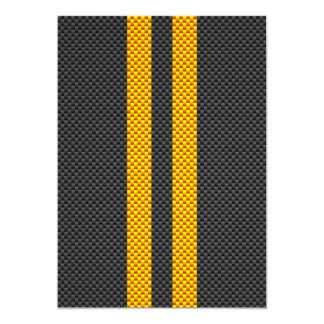 Golden Yellow Racing Stripes Carbon Fiber Style 5x7 Paper Invitation Card