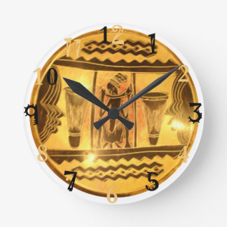 Golden Yellow Red African Traditional colors Round Clock