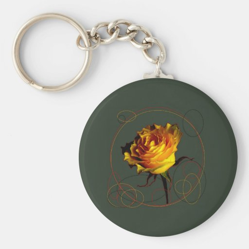 Golden Yellow Rose Gifts by Sharles Key Chain