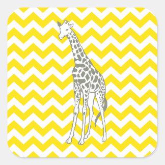 Golden Yellow Safari Chevron with Pop Art Giraffe Square Sticker