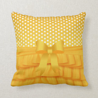 Golden Yellow Satin Ruffle and Bow with Polka Dots Cushions