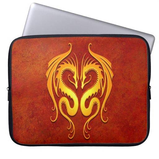 Golden Yellow Tribal Dragons Laptop Sleeve