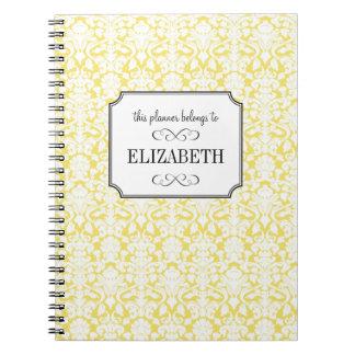 Golden yellow white damask wedding planner journal