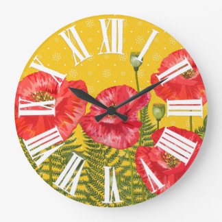 Golden Yellow with Red Poppies Roman Numerals Wallclock