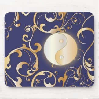 Golden Yin & Yang with scrolls Mouse Pad