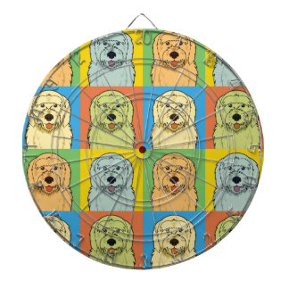 Goldendoodle Dog Cartoon Pop-Art Dartboard