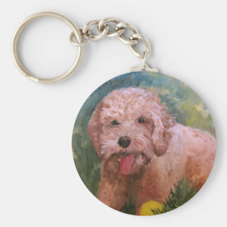 Goldendoodle/ Labradoodle.Key Chain Basic Round Button Key Ring