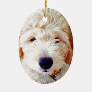 Goldendoodle Puppy Ceramic Oval Decoration