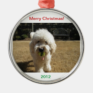 Goldendoodle with ball Ornament