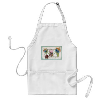 Goldenrod and Turkey Vintage Thanksgiving Aprons