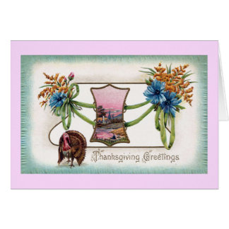 Goldenrod and Turkey Vintage Thanksgiving Card