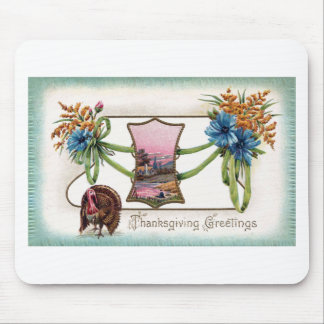 Goldenrod and Turkey Vintage Thanksgiving Mouse Pads