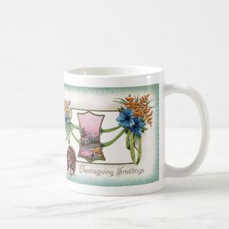 Goldenrod and Turkey Vintage Thanksgiving Coffee Mug