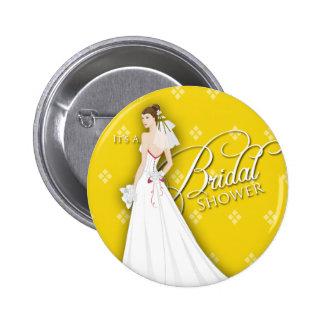 Goldenrod and White Vintage Bridal Shower Pin