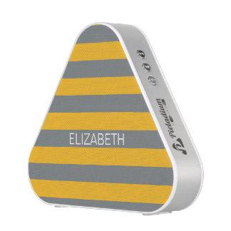 Goldenrod Charcoal Horiz Preppy Stripe Monogram