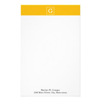 Goldenrod White Framed Initial Monogram Customised Stationery
