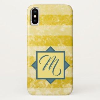 Goldenrod Yellow and White Stripes Custom Monogram iPhone XS Case