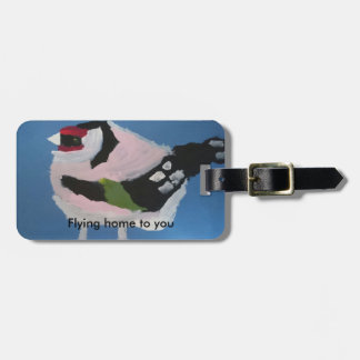 Goldfinch abstract painted cute bird bag tag