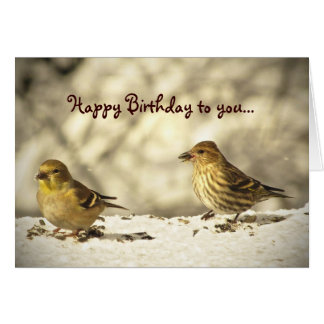 Goldfinch and Pine Siskin Birthday Card