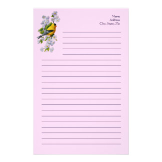 Goldfinch Bird and Blossoms Pink Stationery