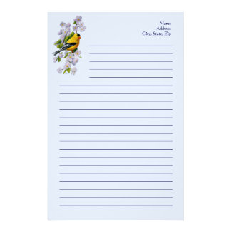 Goldfinch Bird & Apple Blossoms Blue Stationery