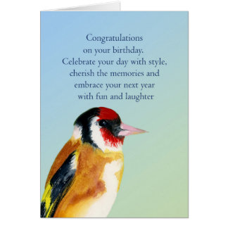 Goldfinch Bird Birthday Wishes Painting Card