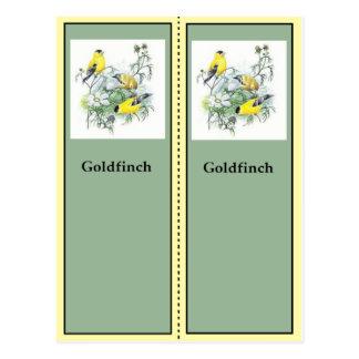 Goldfinch Birding Bookmarks Postcard