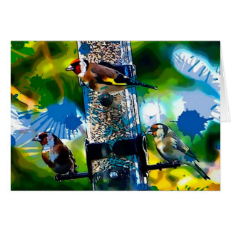 Goldfinch Colour Splash Greeting Card
