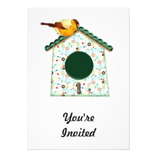 Goldfinch on Flower Calico House Invite