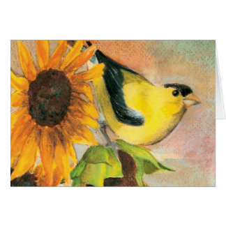 Goldfinch on Sunflowers Card