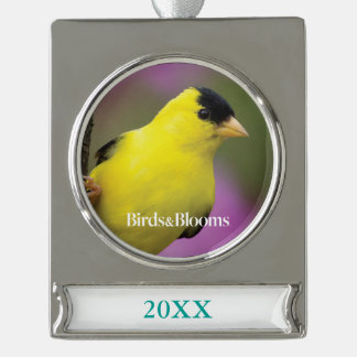 Goldfinch Silver Plated Banner Ornament