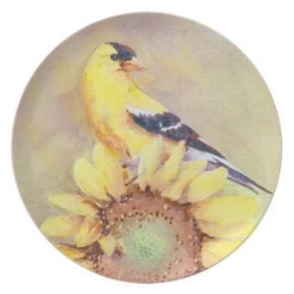 GOLDFINCH & SUNFLOWER by SHARON SHARPE Plate