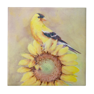 GOLDFINCH & SUNFLOWER by SHARON SHARPE Tile