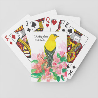 Goldfinch Washington State Bird Rhododendron Playing Cards