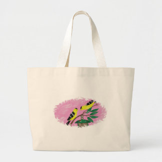 Goldfinches at feeder tote bags