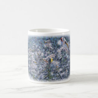 Goldfinches on thistles. coffee mug
