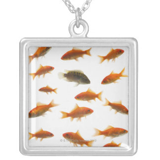 Goldfish 3 silver plated necklace