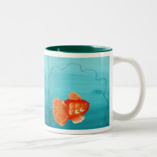 GOLDFISH A SWIMMING, GOLDFISH A SWIMMING, GOLDF... Two-Tone COFFEE MUG