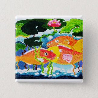 Goldfish and waterlily 15 cm square badge