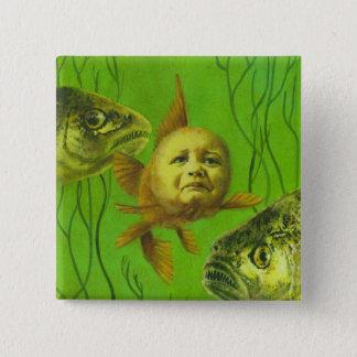 Goldfish Baby Mutant Design 15 Cm Square Badge